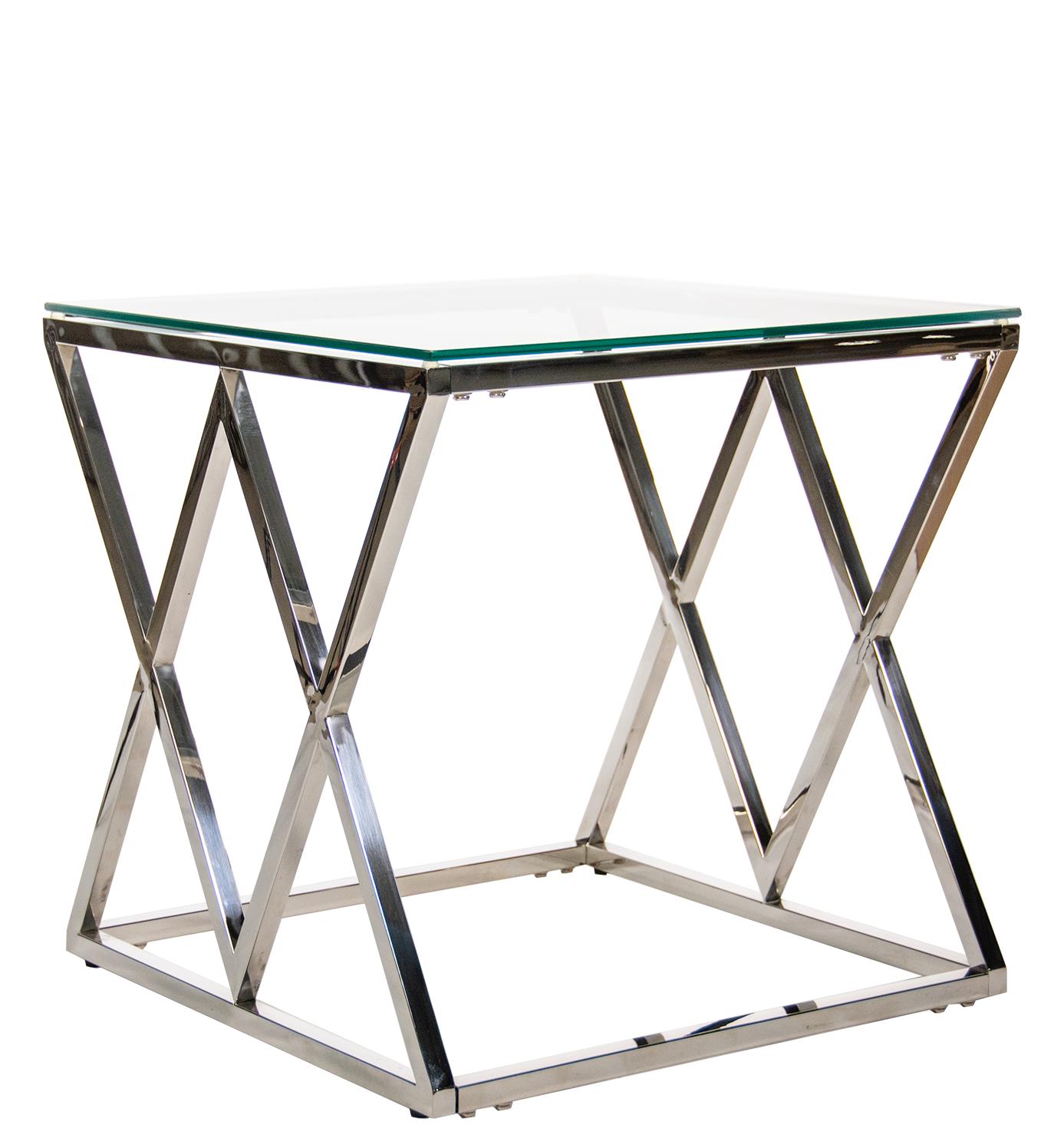 Ромб Журнальный стол стол металлический 55*55*55 хром